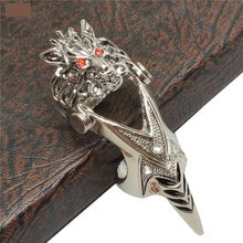 Cosplay Game Final Fantasy Fashion Wolf Head Rings Punk Rock Style Party Rings Punk Silver Rings Cosplay Accessories Men Jewelry(China)