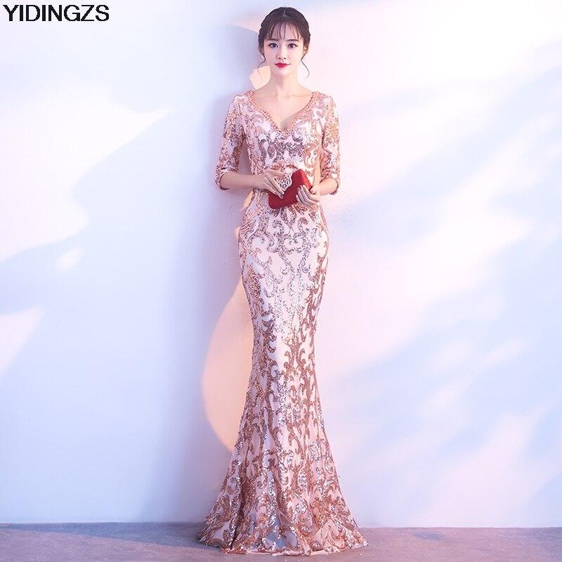 YIDINGZS V-cou See-through Retour Paillettes Partie Formelle Robe Moitié Manches Perles Sexy Longue Robes De Soirée