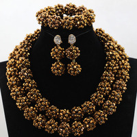Charms Coffee Crystal Balls Beaded Indian Jewelry Set for Women African Party Engagement Jewellery Set Free Shipping WD108