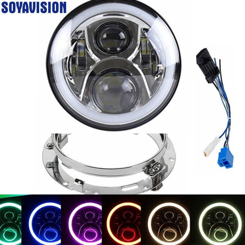 Chrome 7Inch LED Daymaker Headlight with White angel eye for Harley Davidson