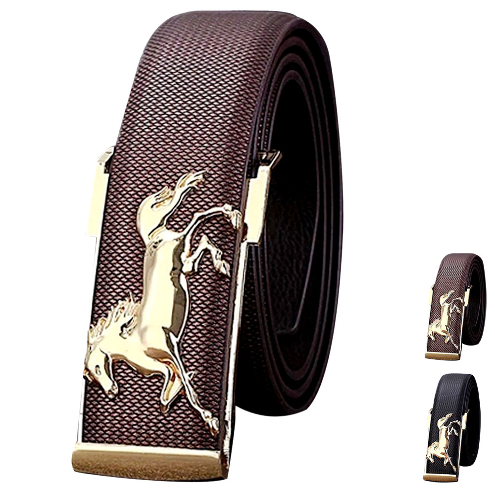 2019 Luxury Attractive Gold Horse Leisure Leather Strap Business Men's Belt Metal Buckles Belt Fashion male leather strap#1.1