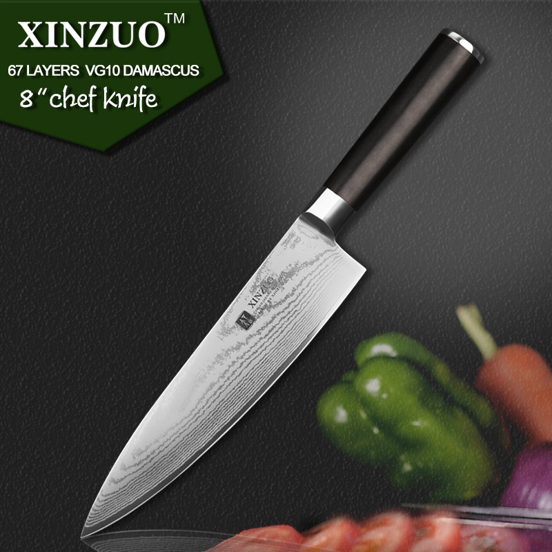 XINZUO 8 inch chef font b knife b font 67 layers Japanese VG10 Damascus kitchen font