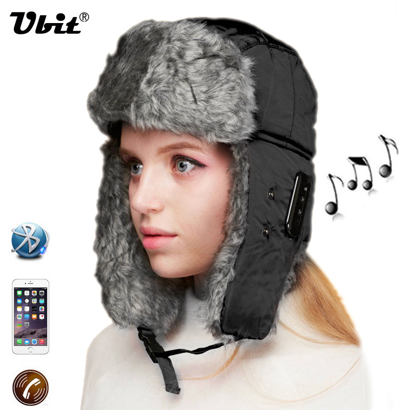 Ubit Bluetooth Earphone Winter Warm Unisex  Music Hat Wireless Headphone With Mic Hands free Calls Answer for IPhone SmartPhone