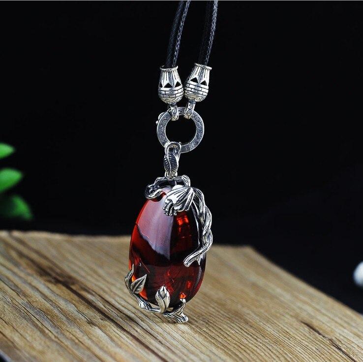 New S925 silver ethnic style women s flower vine models mosaic garnet chalcedony pendant