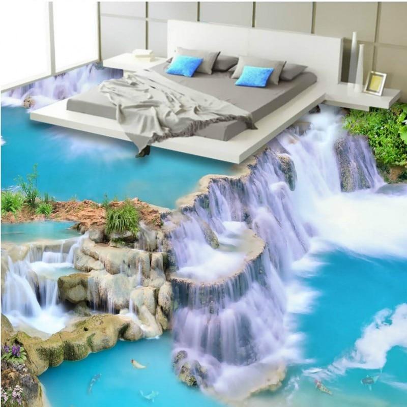 ФОТО Free Shipping 3D Waterfalls flowing 3D self-adhesive flooring wallpaper bedroom living room custom floor mural