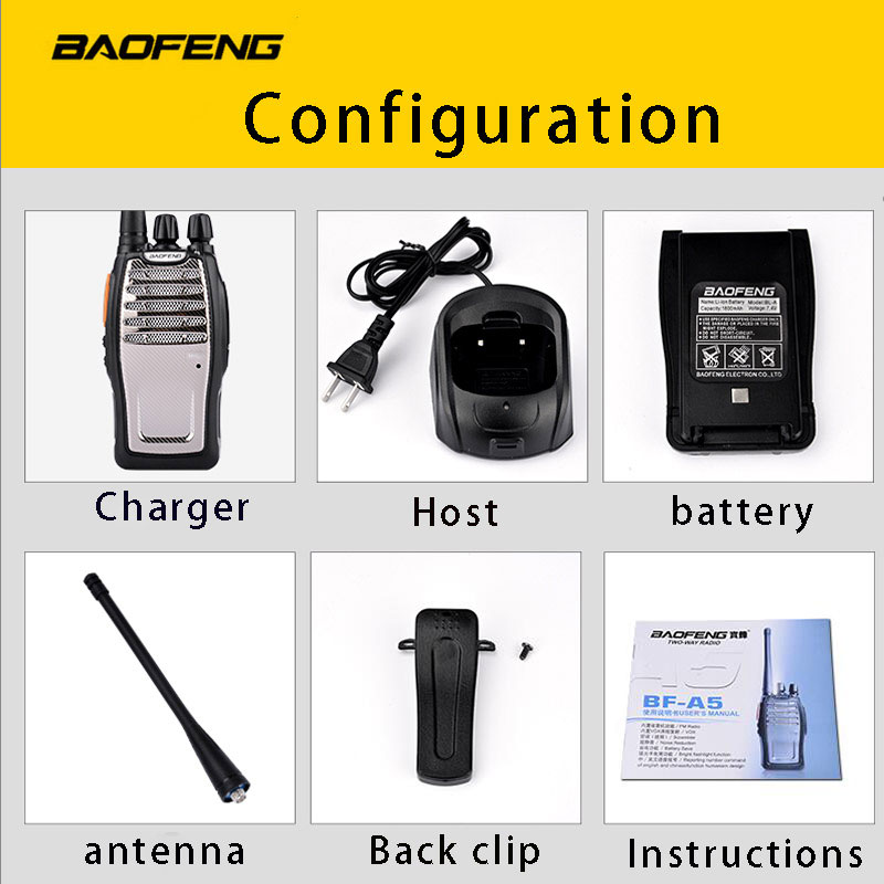 Image 5 - (4 PCS)BaoFeng UHF Walkie Talkie BF A5 16CH VOX+Scrambler Function Free Shipping Two Way Radio-in Walkie Talkie from Cellphones & Telecommunications