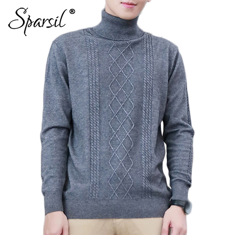 Sparsil Men New Winter Turtleneck Angora Knitted Sweater Jumper Autumn Long Sleeve Male Solid Simple S-4XL Knitwear Pullovers