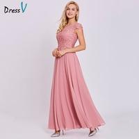 Dressv Peach Long Evening Dress Cheap Lace Cap Sleeves A Line Zipper Up Wedding Party Formal