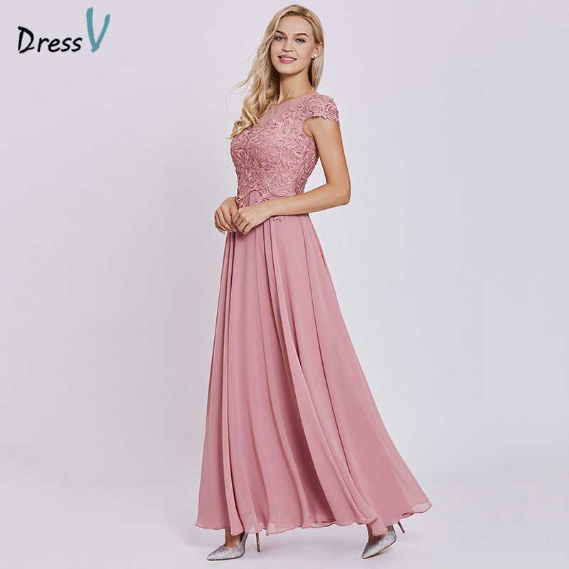 Dressv pêssego touca de renda longo vestido de noite barato mangas uma linha zipper up vestidos de casamento apliques vestido de festa formal vestidos de noite