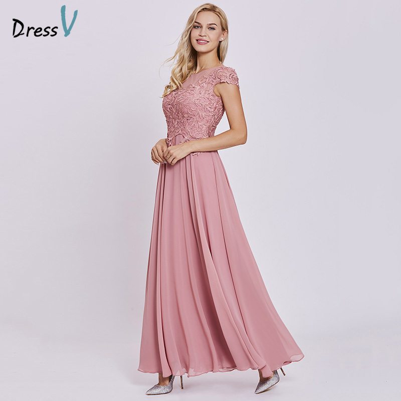 Dressv peach long   evening     dress   cheap lace cap sleeves a line zipper up wedding party formal   dress   appliques   evening     dresses