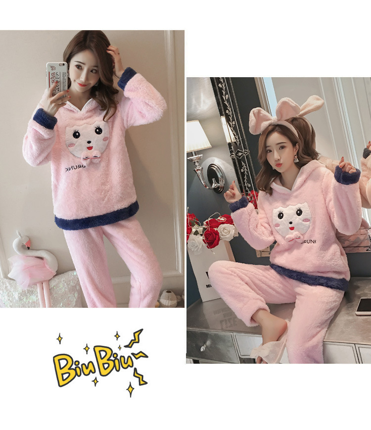 Winter Women Pajama Flannel Sleepwear Long Sleeves Hot Pajamas For Women Velvet Pajama Women Soft Clothing 90