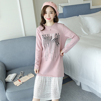 Spot To Film In Pregnant Women Long Fleece Long Sleeved Round Collar Lace Stitching Loose Big