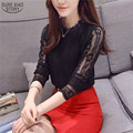 2016 The New Autumn Hot Sale Women Tops Fashion  Korean Slim Long Sleeved Lace Shirt Female O-neck Plus Size Lace Shirt 15B 35