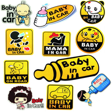 купить SLIVERYSERA Vinyl Cute Cartoon Car Stickers Baby In Car Pattern Warming Sticker Car Body Decal Car Styling #B1293 по цене 64.48 рублей