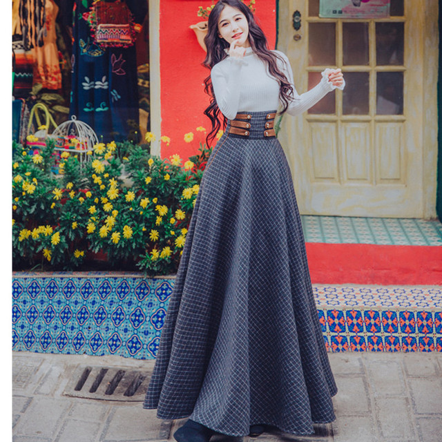 bf2f1dc1e5 2019 winter Flare Sleeve Turtleneck Lady Ruffle Sweater +Vintage plaid wool Maxi  Skirt two piece women Skirt set