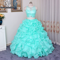 O neck Two Pieces Mint Green Ruffled Organza Ball Gowns Quinceanera Dresss with Beading High Quality Sexy 16 Dress for Younge