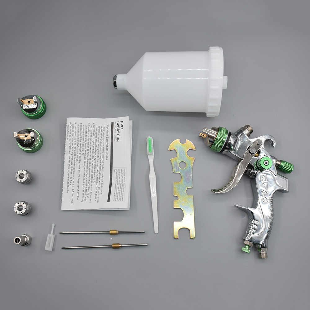 Hvlp ペイントスプレーガンセット 1.4 ミリメートル 1.7 ミリメートル 2.0 ミリメートル鋼ミリメートルノズルエアブラシ車の塗装家具 diy 塗装キット車の自動車修理ツール