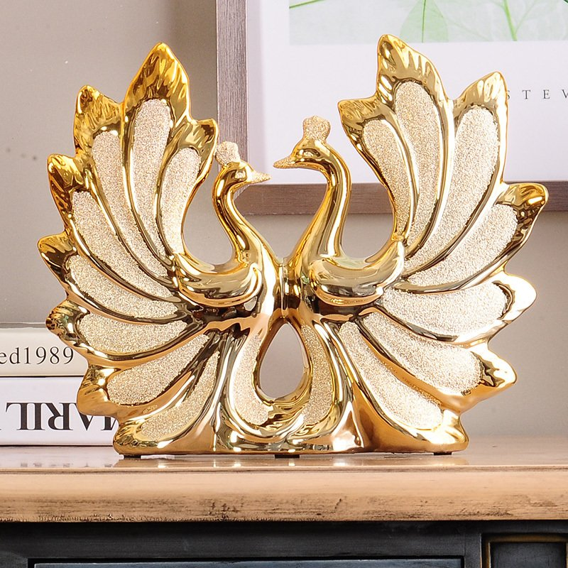 Europe luxury home decor living room gilded peacock couple wedding europe luxury home decor living room gilded peacock couple wedding gift ornaments home sculpture decoration accessories in statues sculptures from home junglespirit Image collections