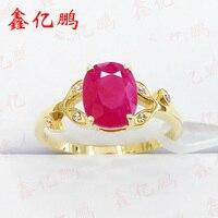 18 k золото инкрустированные натуральный бирманский Рубин кольцо female1.9 карат