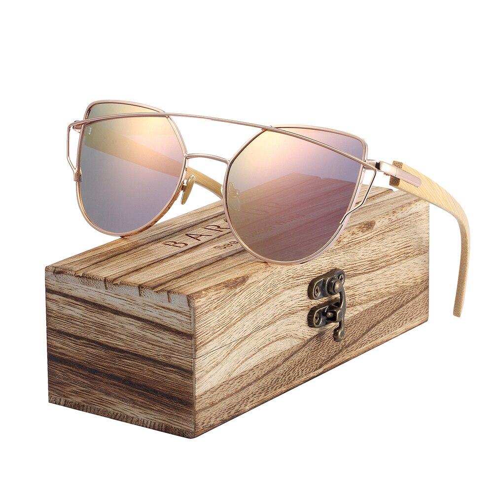 BARCUR Bamboo Cat Eye Sunglasses Polarized Metal Frame Wood Glasses Lady Luxury Fashion Sun Shades With Box Free