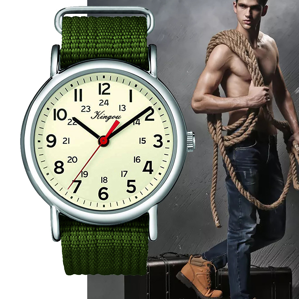 Stylish Cool All Arabic Numerals And 24 Hour Military Time Nylon Belt Watch Relogio Masculino Men Reloj Hombre Bayan Kol Saati