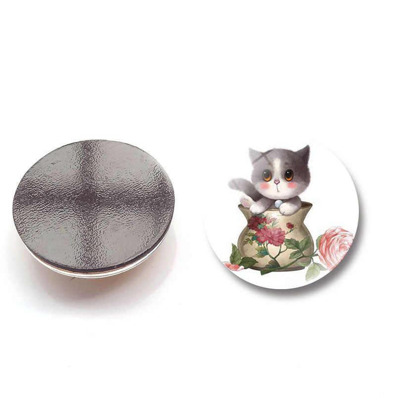 Животные Кошки магниты на холодильник blessding cat стеклянные наклейки для записей украшения дома аксессуары diy Холодильник Магнитный сувенир