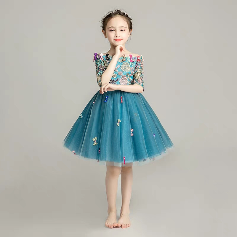 Children Girls Model Show Performance Dress2018Autumn New Half Sleeves Shoulderless Embroidery Birthday Evening Party Prom Dress connected seamed half sleeves flared ponte dress eggplant 6