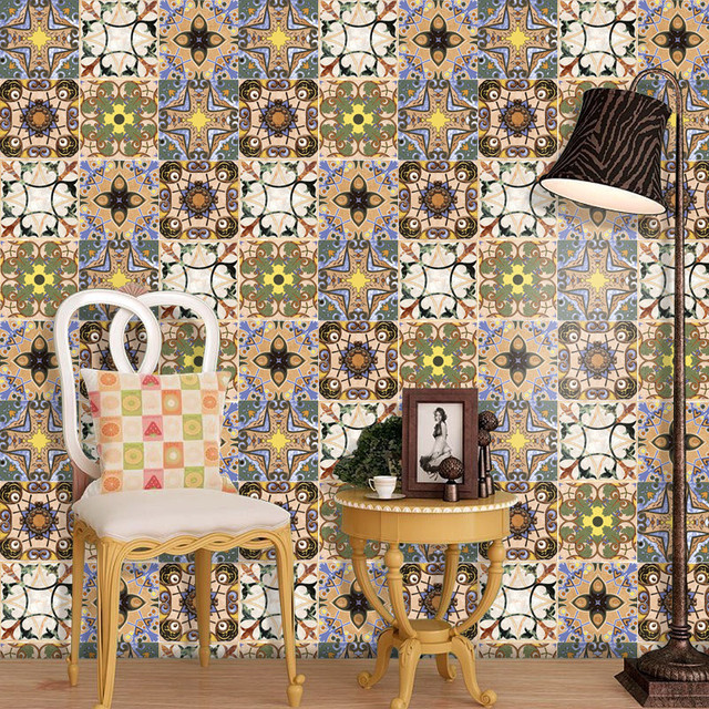 Diy 16pcs Tile Floor Bathroom Wall Stickers Ceramic Tiles Patterns - Diy-hogar