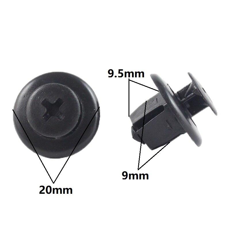 KELIMI автомобильные аксессуары 100x для Toyota крылья бампер радиатора гриль удерживающий зажим 9 мм отверстие крепеж - Название цвета: Black