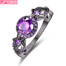 JROSE 2019 Black Gold Color Engagement Rings For Women Purple Red AAA Zircon Jewelry Fashion Women Wedding Ring Size 6 7 8 9 mdean rose gold color ring purple stone aaa zircon jewelry for women engagement wedding fashion wholesale size 5 6 7 8 9 h083