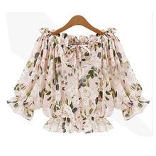 Nice Spring Summer Autumn  WoMen Fashion Shirts Slash Neck Half Sleeve Pullover Off Shoulder Chiffon Short Blouses