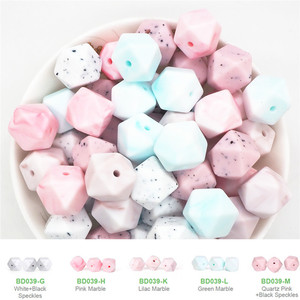 Image 2 - Chenkai 100pcs 14mm BPA Free DIY Silicone Hexagon Teether Pendant Beads Baby Pacifier Dummy Sensory Toy Accessories mix color