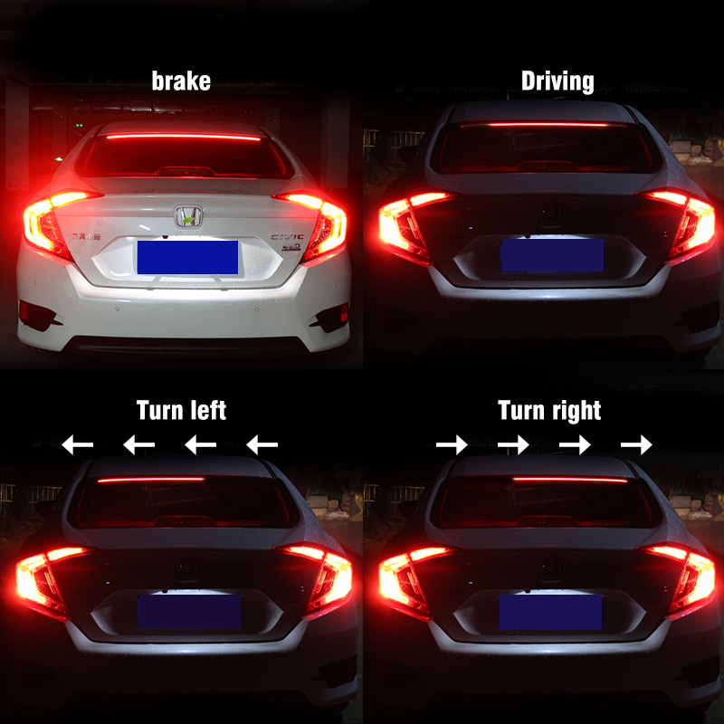 OKEEN 12V Multifunction Flowing LED Third Brake Light Rear Tail High Mount Stop Signal Safety led Warning additional brake light цена