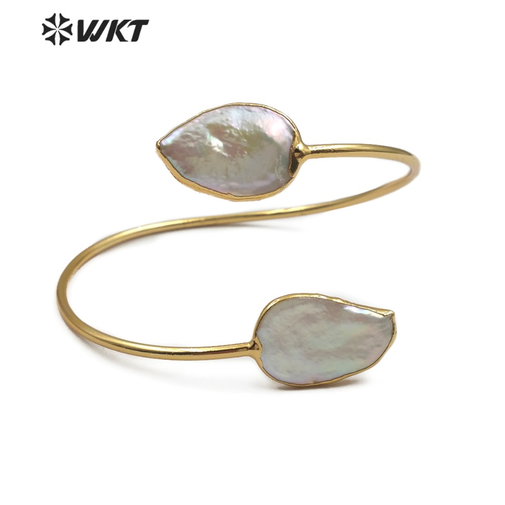 WT B448 Double Freshwater Pearl Bangle Natural Pearl Jewelry In Teardrop Shape Adjustable Gold Bangle Pearl