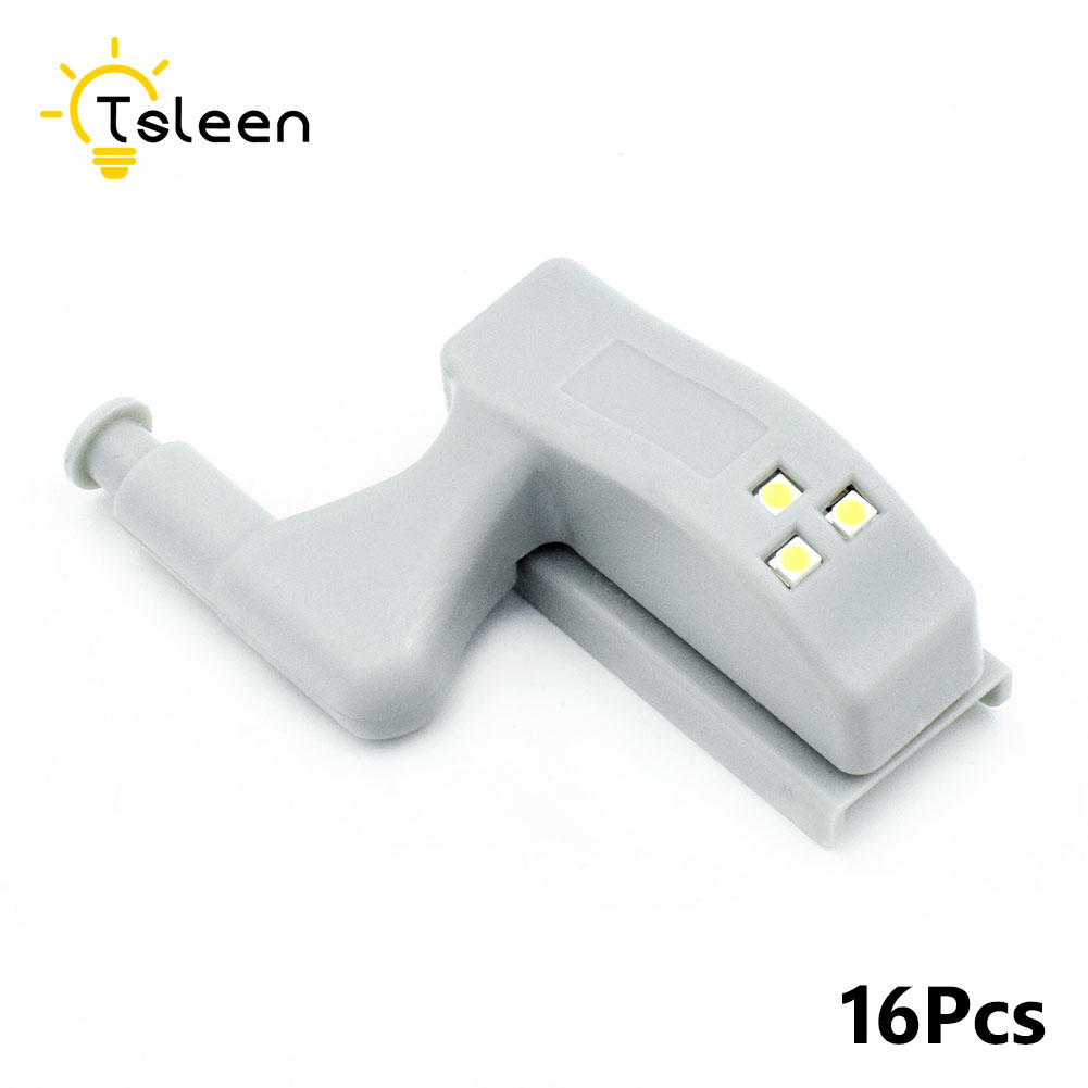 TSLEEN Wholesale 16x Universal Kitchen Bedroom Living Room Cabinet Cupboard Closet Wardrobe Hinge LED Night Lights Lamp +Battery