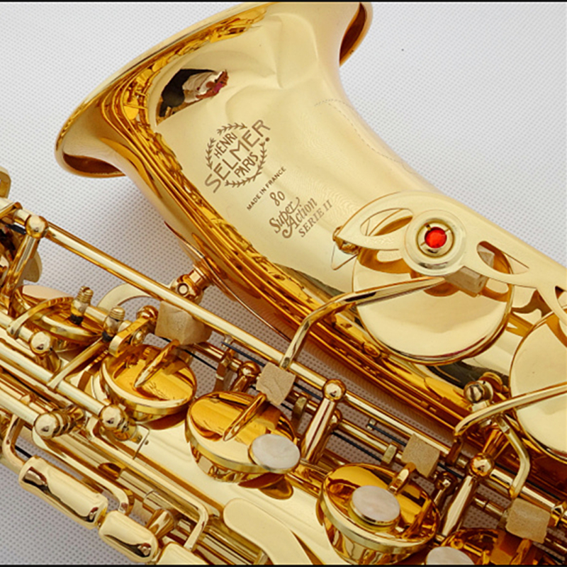 Hot selling Alto Saxophone France Selmer 802 Gold Plated Henri sax E Flat musical instruments professional bE sax Free shipping alto saxophone selmer 54 brass silver gold key e flat musical instruments saxophone with cleaning brush cloth gloves cork strap