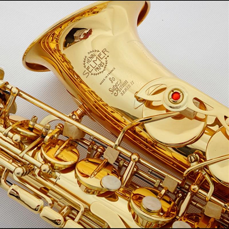 Saxphone Alto Selmer 802/54 Gold Plated Sax bE Saksafon R54 Black Nickel Gold Saxofone musical instruments professional Saxofoon alto mick dual shoe bag black
