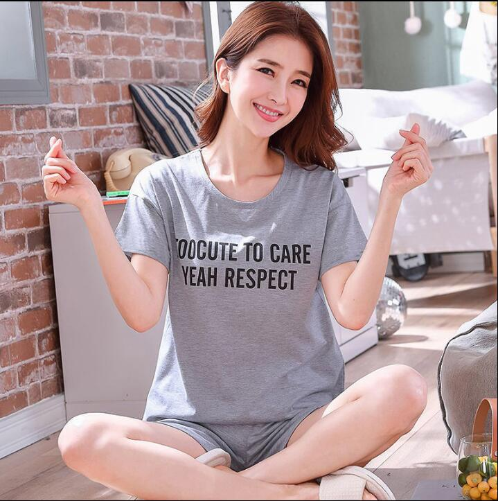 WAVMIT Pajamas Set for Women Summer Short Sleeve Cartoon Cute Sleepwear Girl Pijamas Mujer Nightgown Women Gift