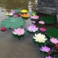 1 unids 10 cm real Touch flor de loto artificial espuma flores de loto lirio de agua flotante piscina plantas jardín decoración de la boda