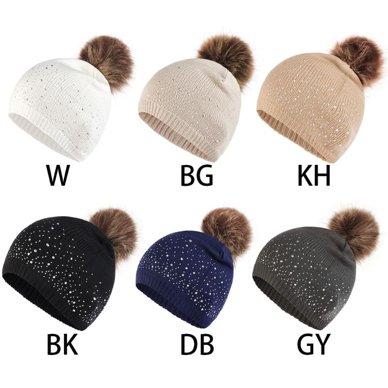 Women Winter Retro Vertical Ribbed Knitted Chemo Hat Luxury Glitter Rhinestone Embellishment Baggy   Beanie   Cap Fluffy Pompom Cap