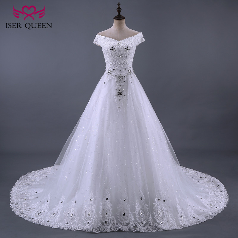 Crystal Luxury Wedding Dress 2020 A Line Lace Embroidery Beautiful Beading Princess Wedding Gown Bridal Dress New WX0085