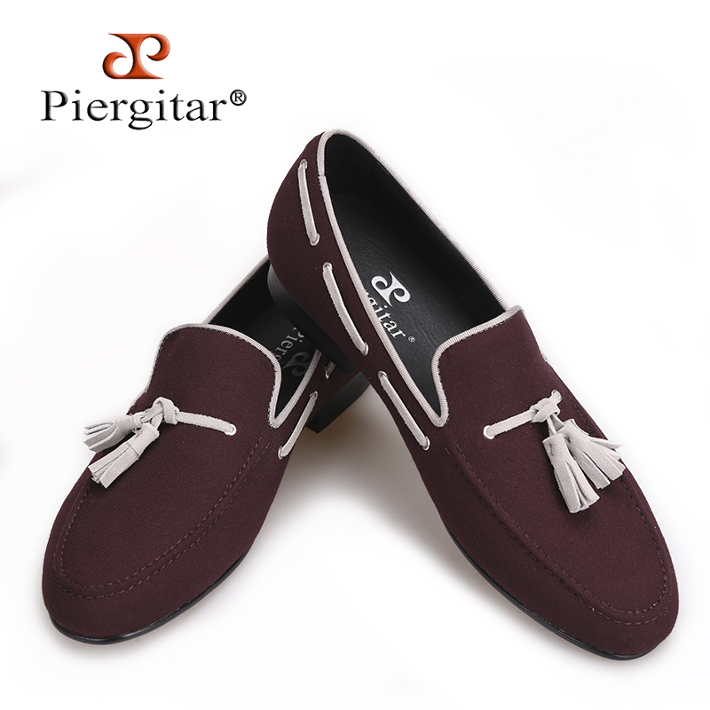 Piergitar 2017 Men Velvet shoes handmade Black tassel Men party and wedding loafer male Fashion Smoking slipper Size US 4-17 носки средние детские запорожец шишки зеленый