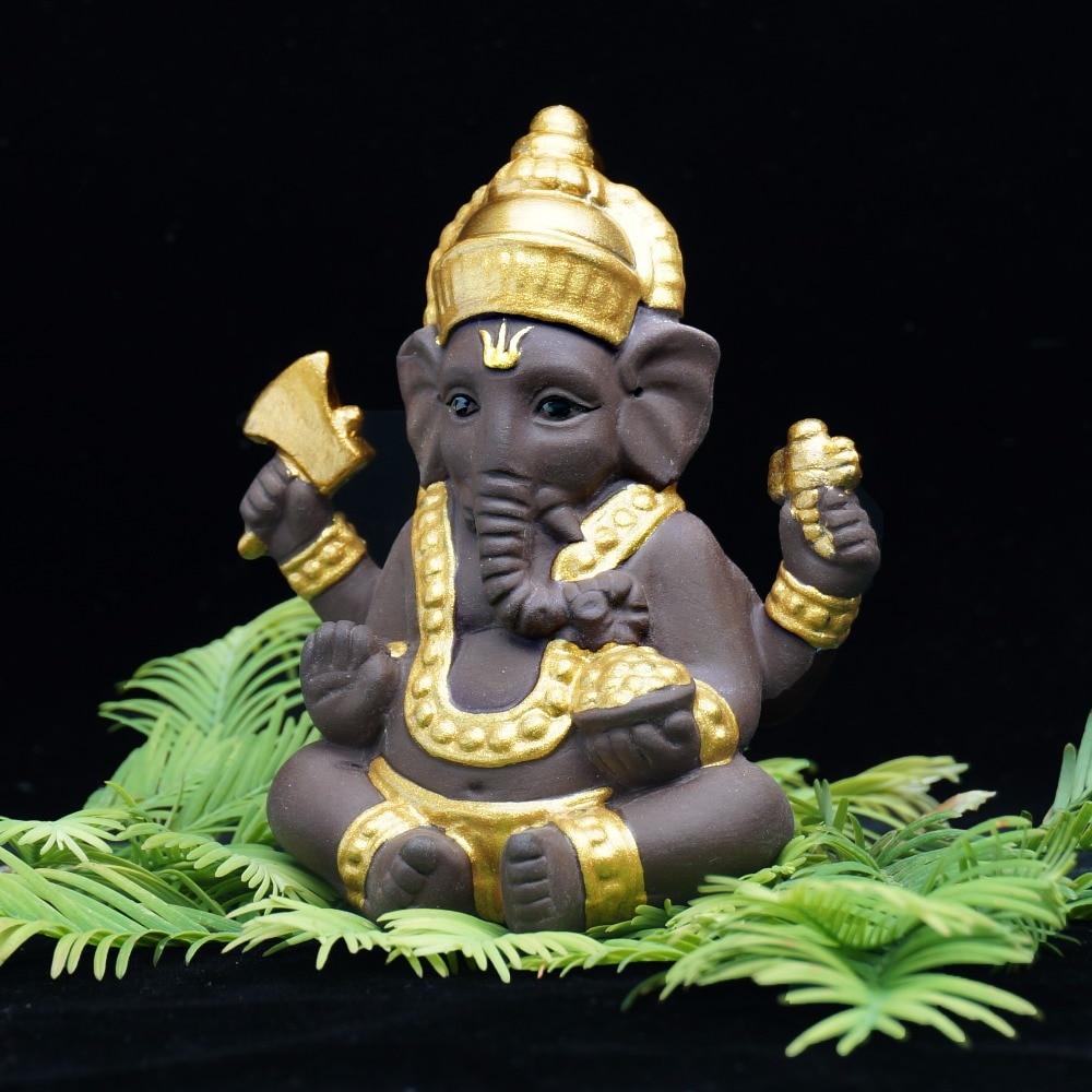 Ganesha Ceramic India Elephant God Buddha Statues Monk Purple Sand Home Decor Figurines Decoration