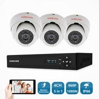 SUNCHAN 4CH CCTV Системы 1080N HDMI аналоговая камера высокого разрешения, система видеонаблюдения, цифровой видеорегистратор 2 шт 960 P 1.3MP ИК-обеспечени...