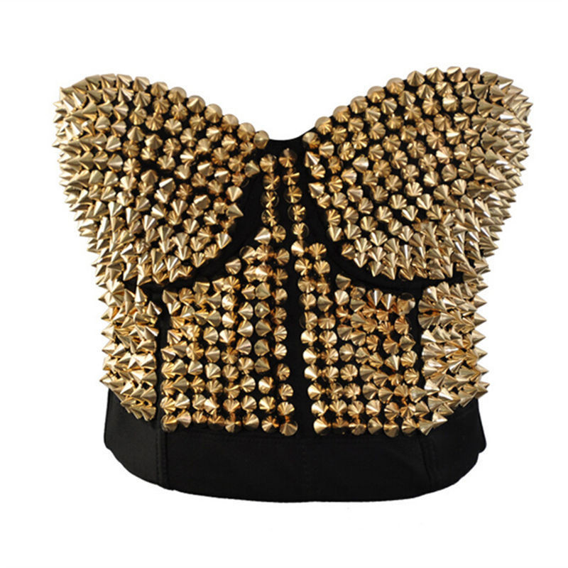 Vocole Women Sexy Gold Silver Studded Bustier Rivet Spike Bras Steampunk Disco Stage Dance Nightclub Clubwear