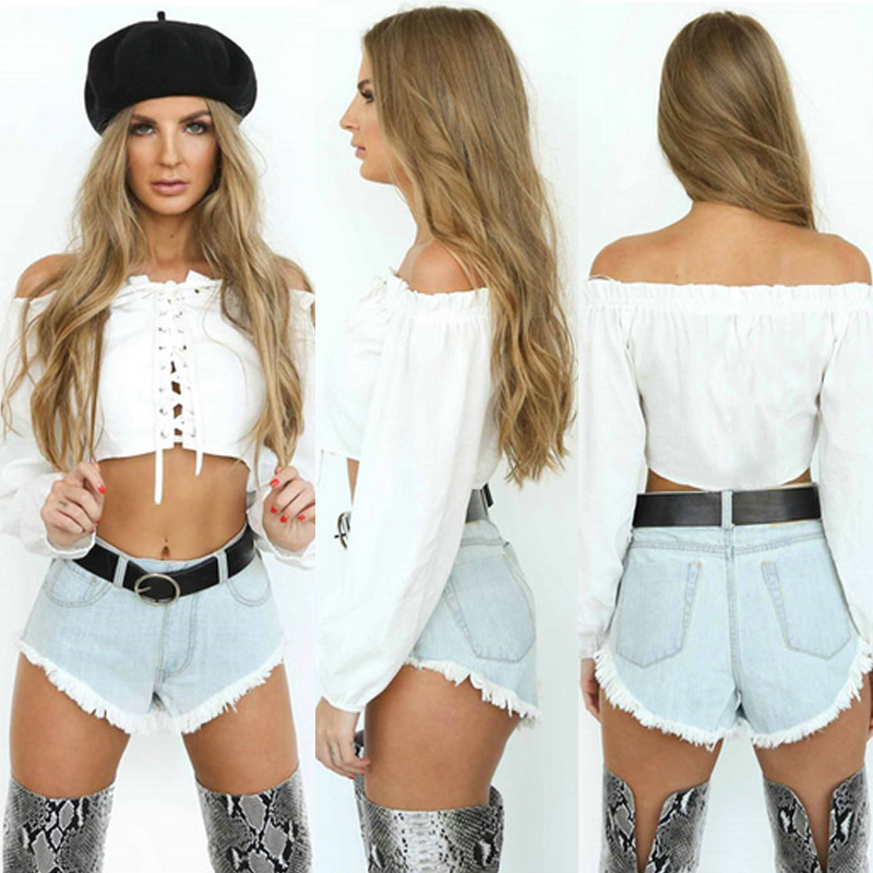 HTB1K6xcXxsIL1JjSZFqq6AeCpXae - Off Shoulder Sexy Women Blouse Shirt Lace Up Long Sleeve White Shirts PTC 258