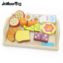JaheerToy Wooden Cut Simulated Fruit Bread Kitchen Toys Set Breakfast Toy for Children Play House Parent