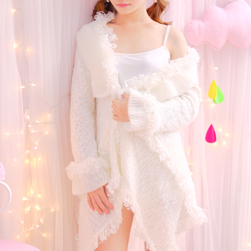 Elegant Knitwear Open Sticch White Female Princess Adorable Ruffles Tassel Irregular Cardigans Flare Sleeve Women Long Sweaters