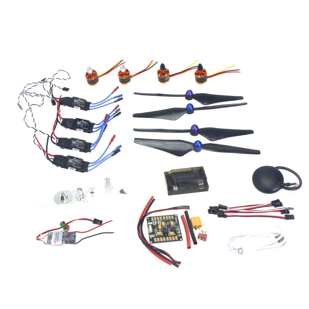 GPS APM2.8 Flight Control 30A ESC BEC 920KV Brushless Motor 9450 Propeller for 4-axis DIY GPS Drone F15843-F 30a esc welding plug brushless electric speed control 4v 16v voltage