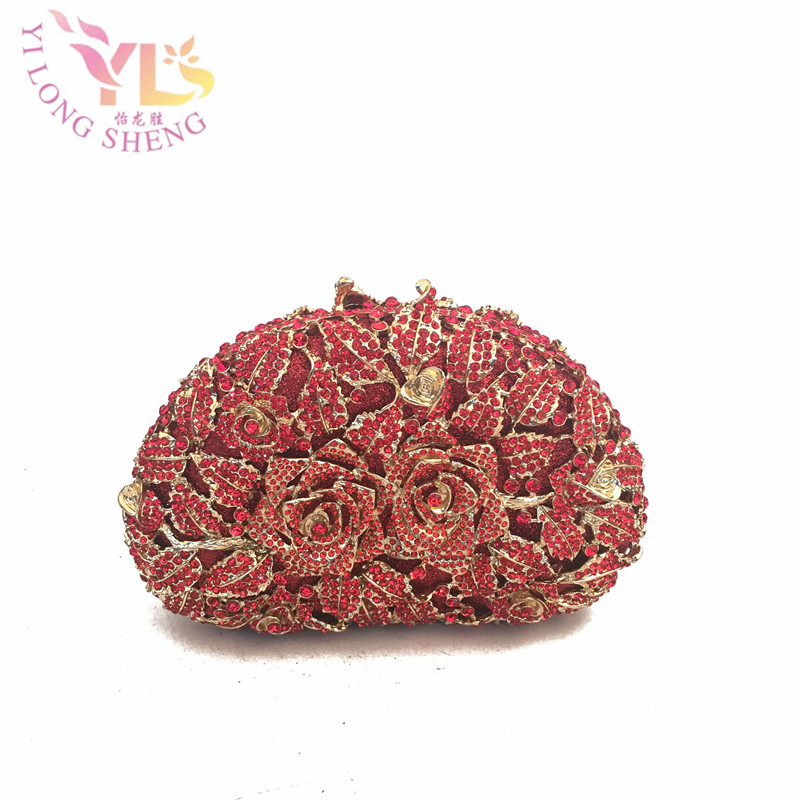 Alloy Metal Evening Red Purses with Crystal FLORA Metal Evening purse clutch bag handbag case 6 Colors Available YLS-F26 redlai colors crystal clear laptop case